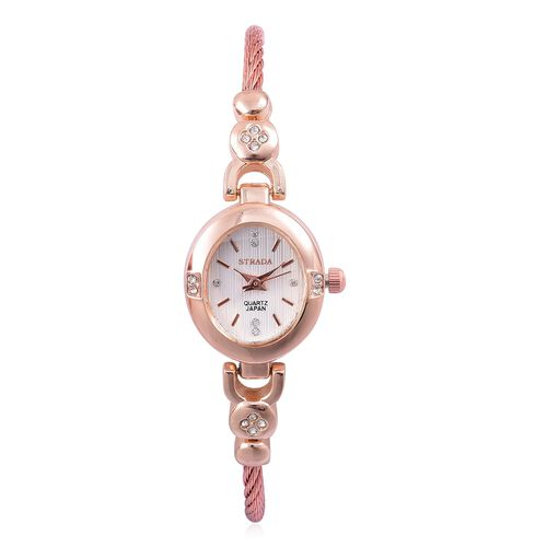 STRADA Japanese Movement White Dial with White Austrian Crystal Watch in Rose Gold Tone with Rope and Bead Link Strap