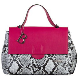 Bulaggi Collection - MONA Flap Handbag in Snake Print (24x09x20cm) - Fuschia