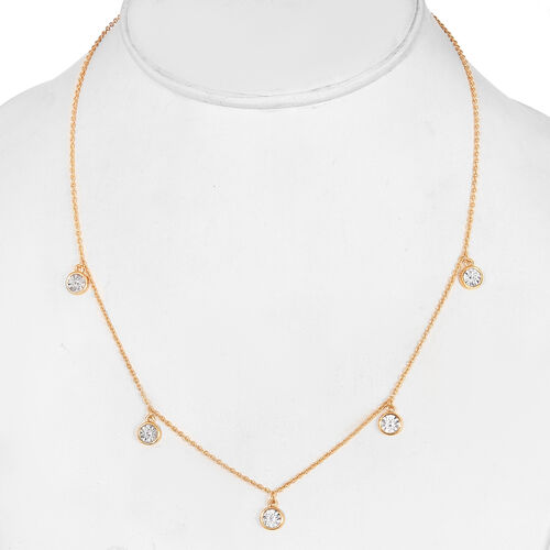 Diamond Station Necklace (Size 18) in 14K Gold Overlay Sterling Silver