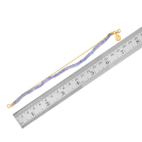 Tanzanite (Rnd) Bracelet (Size 7.5) with Horse Shoe Charm in Yellow Gold Overlay Sterling Silver 14.400 Ct.
