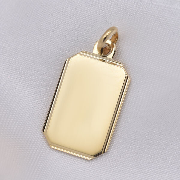 Personalised 9ct yellow gold rectangle polished pendant-