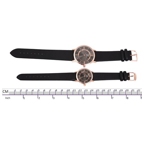 Set of 2 STRADA Japanese Movement Water Resistant Rose Gold Plated Grey Black Dial Watch with Black Strap