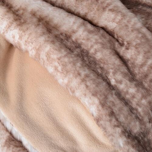Super Soft Printed Faux Fur with Faux Mink Blanket (Size 200x150 Cm) - Colour Brown