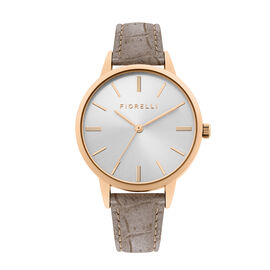 Fiorelli Ladies Watch with Rose Gold Case, Round Silver Sunray Dial and Grey Strap
