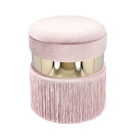 Storage Wooden Stool with Tassels (Size 33x33x40 cm) - Dusty Pink