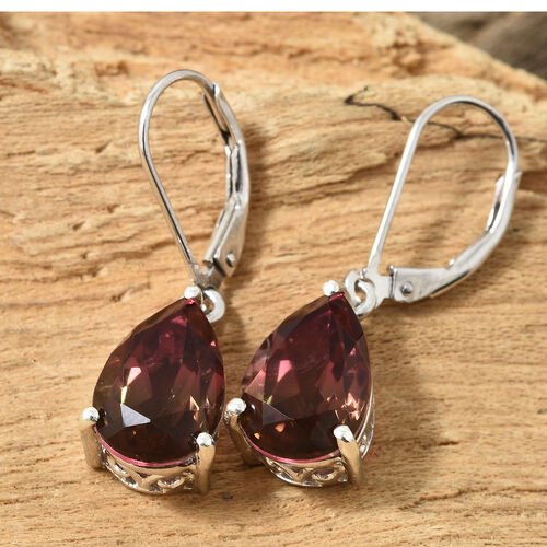 Finch Quartz (Pear 12x8 mm) Earrings (with Lever Back) in Platinum Overlay Sterling Silver 7.000 Ct.