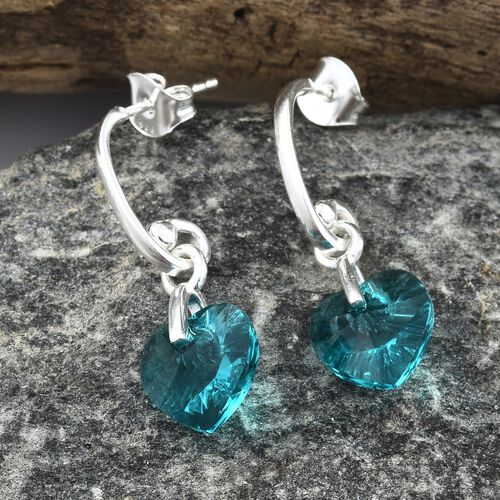 J Francis Crystal from Swarovski - Blue Zircon Crystal (Hrt) Earrings (with Push Back) in Sterling Silver