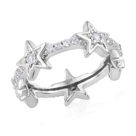 Natural Cambodian Zircon (Rnd) Star Ring in Platinum Overlay Sterling Silver 0.750 Ct.