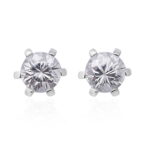 Tanzanian White Zircon Solitaire Stud Earrings in Rhodium Plated Sterling Silver
