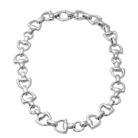 Rhodium Overlay Sterling Silver Snaffle Necklace (Size 20.5), Silver wt 62.44 Gms