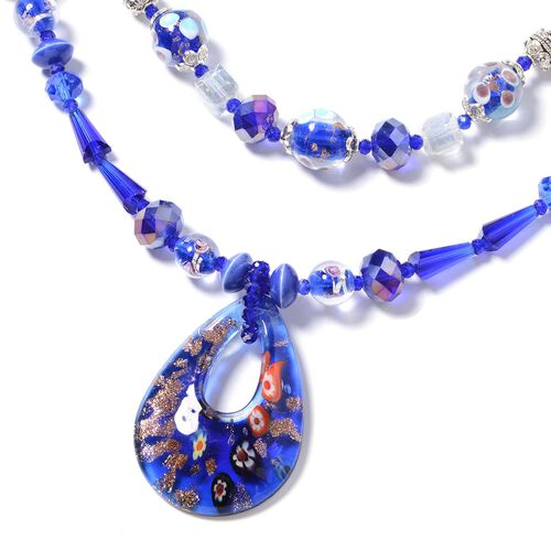 Murano Style Glass, Simulated Sapphire, Ceramic, Simulated Diamond and White Shell and Multi Colour Beads Necklace (Size 24) in Silver Plated.