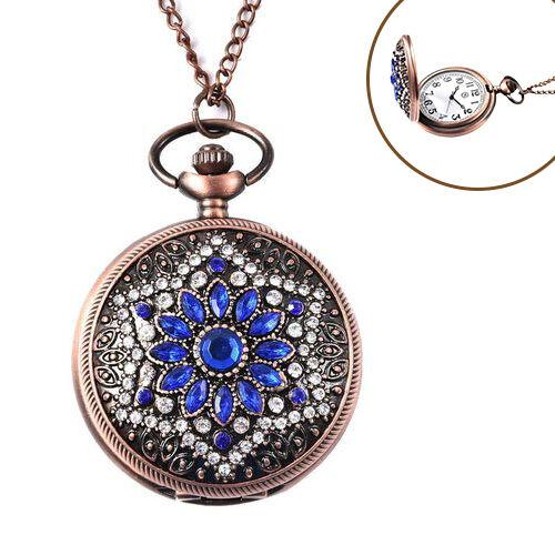 STRADA Japanese Movement Simulated Blue Sapphire, White Austrian Crystal Flower Pattern Pocket Watch