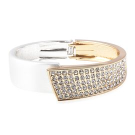 White Austrian Crystal (Rnd) Bangle (Size 6.75) in Silver and Gold Tone