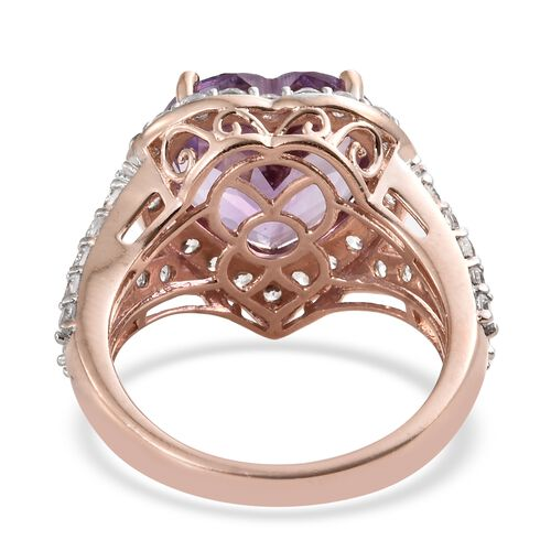 Rose De France Amethyst (Hrt 8.80 Ct), Natural Cambodian Zircon Ring in Rose Gold Overlay Sterling Silver 11.000 Ct.
