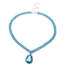 Simulated Blue Topaz and Blue Austrian Crystal Necklace (Size 19 with 4 inch Extender)