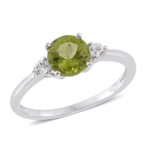 Hebei Peridot (Rnd 1.50 Ct), White Topaz Ring in Platinum Overlay Sterling Silver 1.635 Ct.