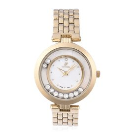 GENOA Japanese Movement White Swarovski Crystal (Rnd), Austrian White Crystal Water Resistant Watch