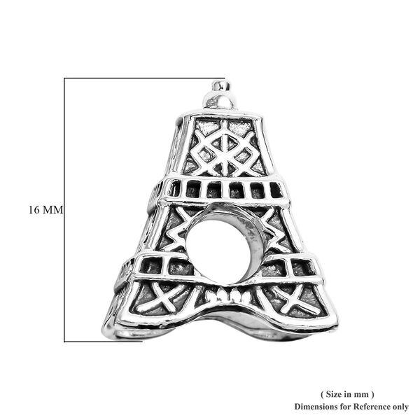 Charmes De Memoire Platinum Overlay Sterling Silver Eiffel Tower Charm, Silver wt 4.10 Gms