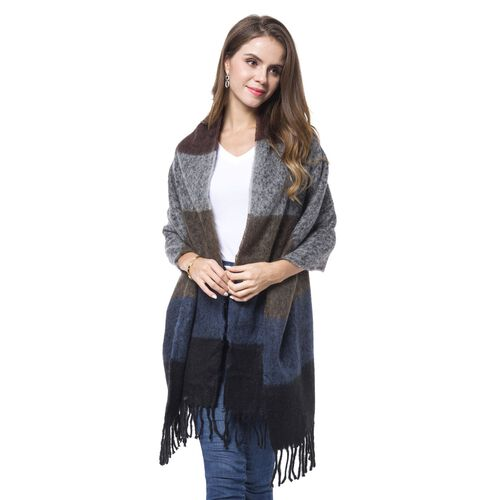 Designer Inspired - Black, Grey and Multi Colour Horizontal Stripes Pattern Knitted Scarf with Tassels (Size 190X60 Cm)