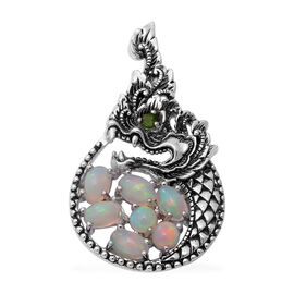 Ethiopian Welo Opal and AA Russian Diopside Pendant in Sterling Silver 1.83 Ct, Silver wt. 6.00 Gms