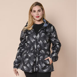 LA MAREY Water and Wind Resistant Packable Black Leaves  Pattern Jacket - One Size - 8-18