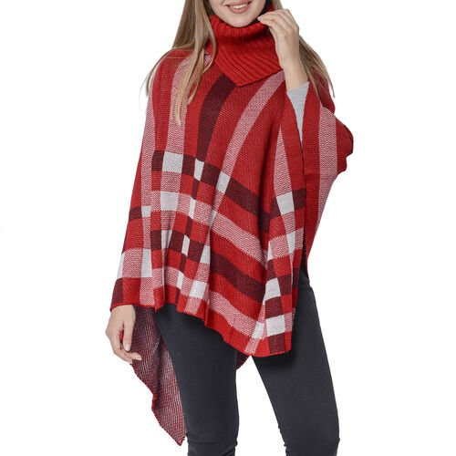 Designer Inspired- Red Colour Roll Neck Checker Pattern Poncho (Size 68x90 Cm)