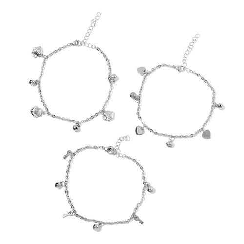 Set of 3 - Multi Charms Anklet (Size 9 with 2 inch Extender) in Stainless Steel