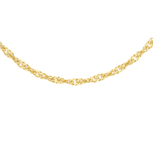 9K Yellow Gold Diamond Cut Twisted Curb Chain (Size 22)
