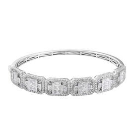 J Francis Platinum Overlay Sterling Silver Bangle (Size 7.5) Made with SWAROVSKI ZIRCONIA 14.08 Ct,