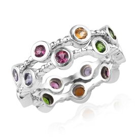 Set of 2 - Rhodolite Garnet (Rnd), Citrine, Tanzanite and Multi Gemstone Ring in Platinum Overlay St