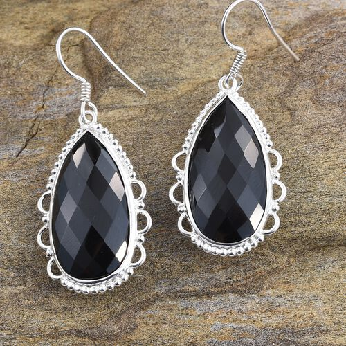 Limited Edition - Cocktail Collection- Boi Ploi Black Spinel (Pear) Hook Earrings in Sterling Silver 39.120 Ct.