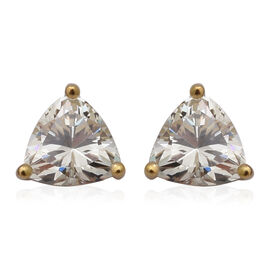 ELANZA Swiss Star Simulated Canary Diamond Stud Earrings (with Push Back) in Yellow Gold Overlay Ste