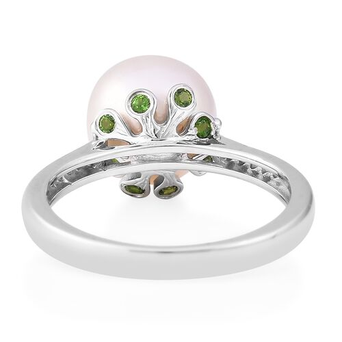 LucyQ White Edison Pearl (Rnd), Russian Diopside and Natural White Cambodian Zircon Ring in Rhodium Overlay Sterling Silver