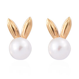 Freshwater Pearl Bunny Stud Earrings (with Push Back) in 14K Gold Overlay Sterling Silver