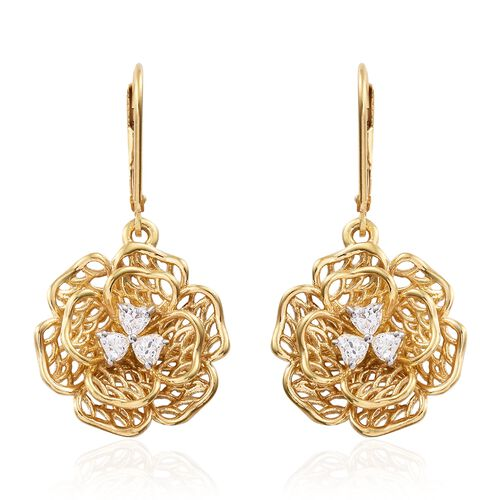 J Francis - 14K Gold Overlay Sterling Silver (Hrt) Flower Lever Back Earrings Made with SWAROVSKI ZIRCONIA, Silver wt 5.68 Gms.