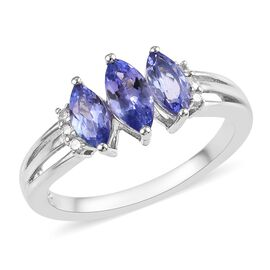 Tanzanite (Mrq), Natural Cambodian Zircon Ring in Platinum Overlay Sterling Silver 0.98 Ct.