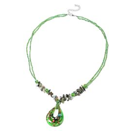 230 Ct Green Color Murano Glass and Multi Gemstone Necklace 28 Inch