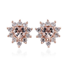 Marropino Morganite (Hrt), Natural Cambodian Zircon Earrings (with Push Back) in Rose Gold Overlay S