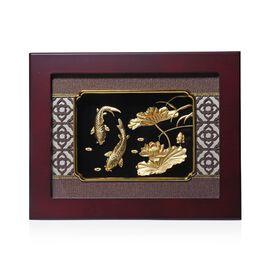 Home Decor - 24K Gold Plated Fish and Lotus Wooden Frame (Size 27x34 Cm)
