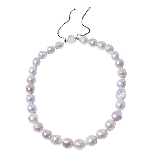 Organic Edison Pearl Beaded Adjustable Necklace in Rhodium Plated Silver 18 to 24 Inch