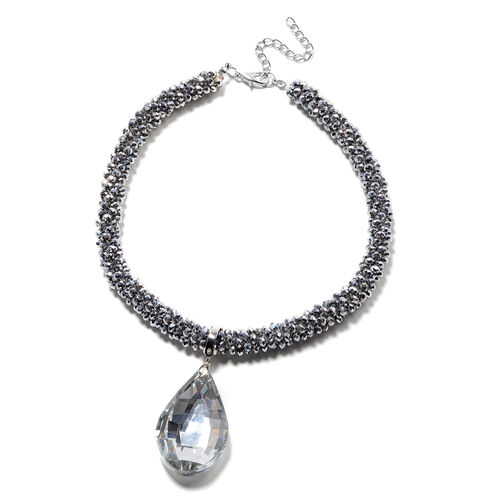 2 Piece Set - Simulated Diamond and Silver Bead Necklace (Size 20) with Detachable Pendant