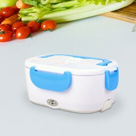 Portable Electric Heating Lunch Box in White & Blue (Size:23.5x16.5x10.5cm)