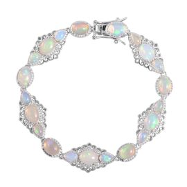 13.25 Ct AAA Ethiopian Opal Beaded Bracelet in Rhodium Plated Sterling Silver 14 Grams 7.5 Inch