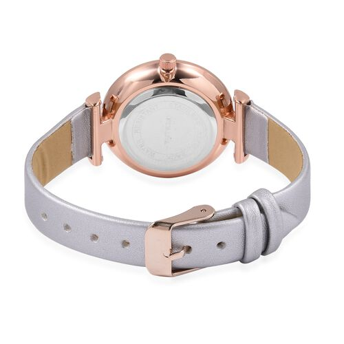 STRADA Japanese Movement White Austrian Crystal Studded Water Resistant Watch in Rose Gold Tone with White Strap