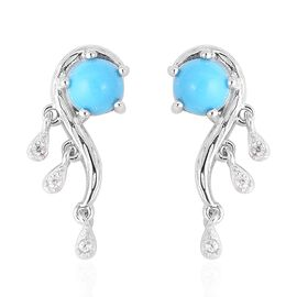 Arizona Sleeping Beauty Turquoise (Rnd), Natural White Cambodian Zircon Earrings (with Push Back) in