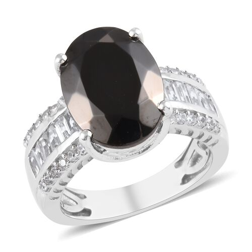 4.75 Ct Elite Shungite and Zircon Solitaire Design Ring in Platinum Plated Silver 5.47 Grams