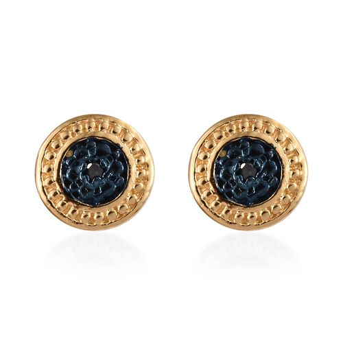 Blue Diamond (Rnd) Stud Earrings (with Push Back) in Blue and Gold Overlay Sterling Silver 0.020 Ct.
