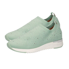 Caprice Leather Knit Embellished Trainers - Mint