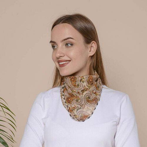 2 in 1 Paisley Pattern Chiffon Soft Feel Scarf and Protective Face Covering (Size 45x45 Cm) - Brown