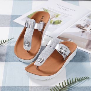 LA MAREY Flat Womens Slippers (Size 3) with Buckle - Silver
